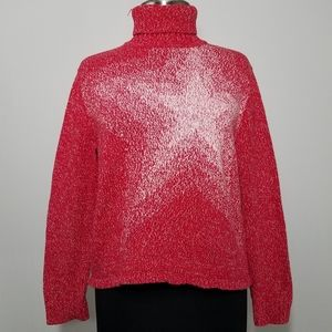 Vintage Sweater Turtleneck Star Print Cotton Mediu